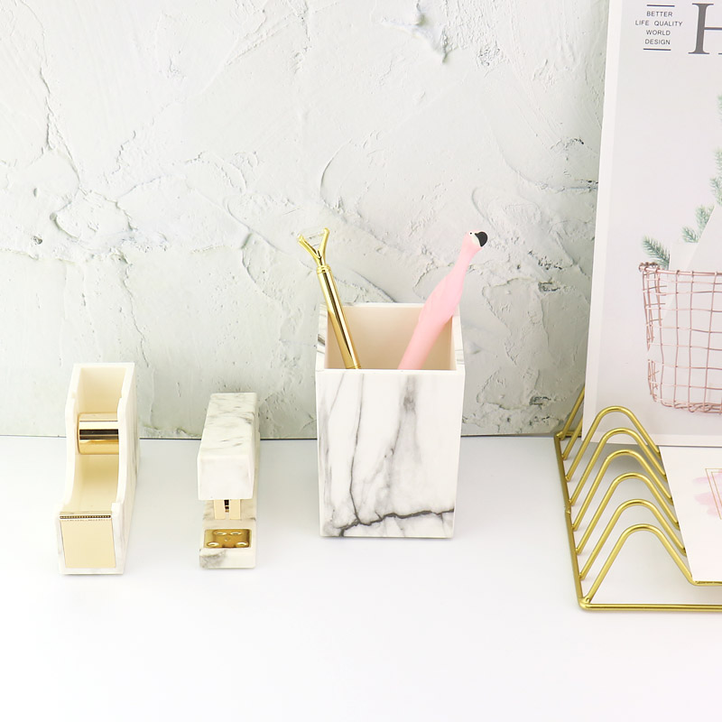 TUTU White Marble Stapler Adhesive Tape Holder Pen Holder Gold Bookbinding Supplies With Non-slip Mat H0260