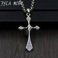 FYLA MODE 2017 100 Sterling Silver Jewelry Fashion Cross Necklace Pendant With Ring For Women Men