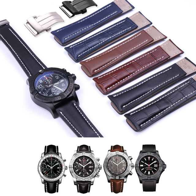 22MM 24MM Genuine Cow Leather Watch Band For Breitling WatchStrap For Avenger Se