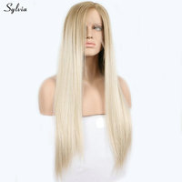 Sylvia lace front synthetic wigs blonde to platinum silky straight women replacement hair long heat resistant glueless free ship