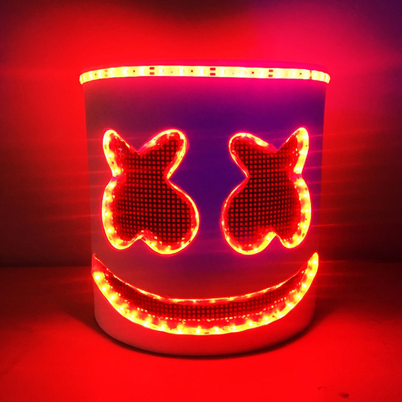 Cosplay Accessory DJ Marshmello Mask Luminous LED font b Electronic b font Syllable Halloween Party Kids
