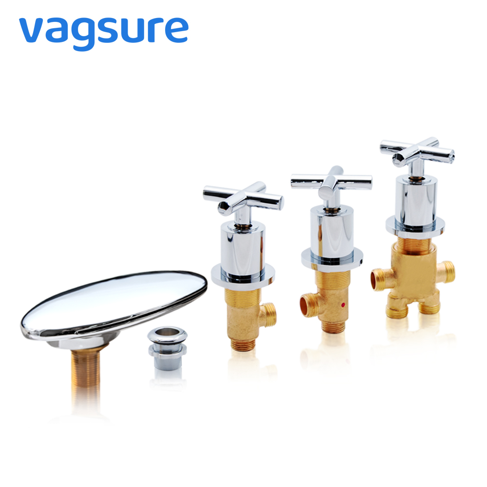 Vagsure 1set  Brass Waterfall Bath Mixer Cold And Hot Chromed Massage Bathtub Faucet Mixer Tap For Bathtub Faucet Shower