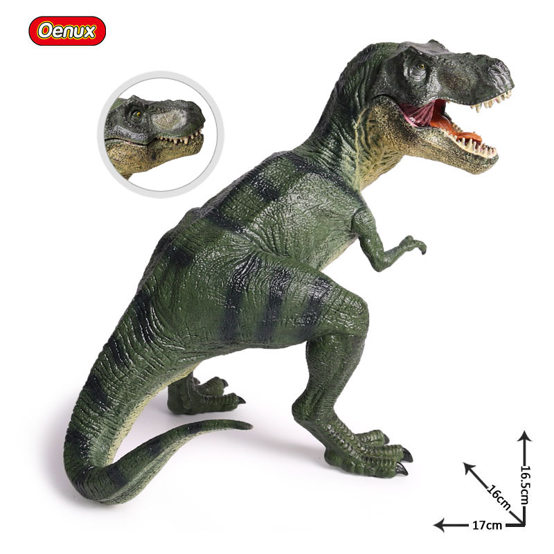 Oenux Jurassic Carnivorous Sitting Tyrannosaurus Rex T-Rex Dinosaur Model Jurassic Dinosaurio Mouth Can Open Action Figures Toy 37 cm tyrannosaurus rex with platform dinosaur mouth can open and close classic toys for boys animal model without retail box