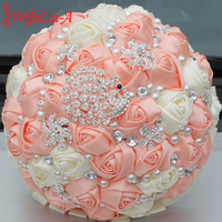 WifeLai-A 1Piece Gorgeous Diamond Peacock Cream Pink Silk Wedding BouquetS Bridal Artificial Flowers Wedding Bouquet 4 size W231