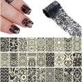 Nuevo Producto 27 Rollos/Lot 100*4 cm Negro Cordón de La Flor Del Clavo Foils Nail Transferencia Art Nail Polish Wrap Pegatinas En Las Uñas