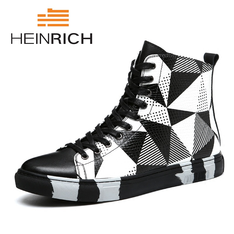 HEINRICH 2018 Fashion Popular Black White Leather Mens  Boots Spring/Autumn High Top Lace Up Genuine Leather Ankle BootsHEINRICH 2018 Fashion Popular Black White Leather Mens  Boots Spring/Autumn High Top Lace Up Genuine Leather Ankle Boots