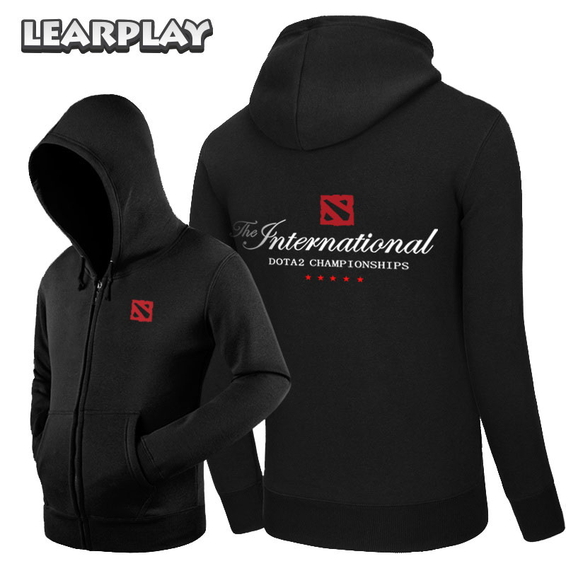2018 Dota 2 Hoodies New Men Fleece Dota Zipper Sweatshirt Black Red Blue yellow Coat Outwear S-3XL