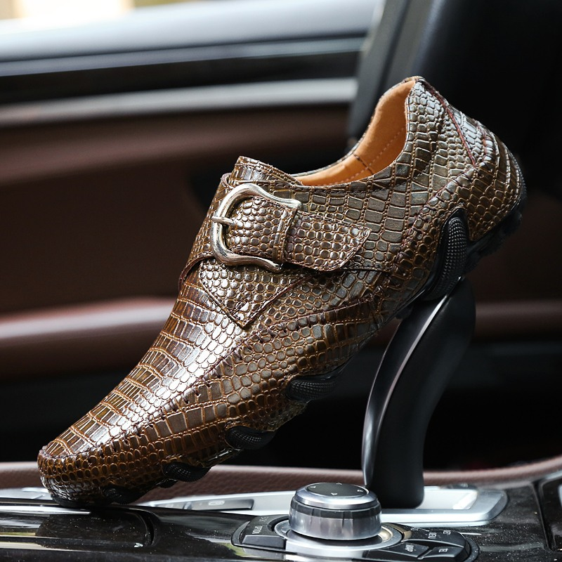 Brand Men Loafers Spring and Autumn Men Casual Shoes Genuine Leather Driving Shoes Crocodile Texture Men's Flats Shoes Plus Size brand 2018 new comfortable casual shoes loafers men shoes high quality driving shoes fashion trends spring and autumn bh a0054