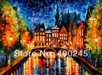 Landscape painting modern Oil painting canvas Home Decor AMSTERDAM CANA High quality 100%Hand painted Free shipping