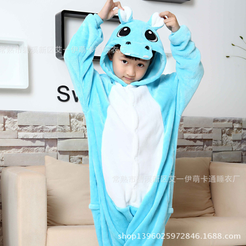 Hippo Overalls Jumpsuit with Pockets Children Cosplay Costume Blue Kigurumi Onesie Blanket Sleepers Kids Pajama Hip With Zipper