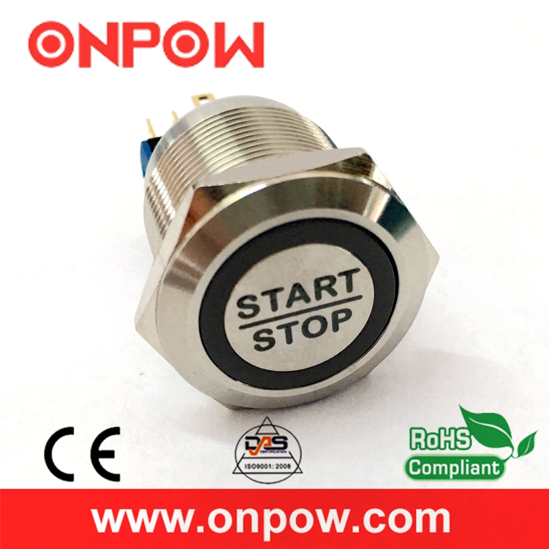 ONPOW 22mm Stainless steel Momentary Waterproof IP65 Engine start stop push button switch GQ22 11E B