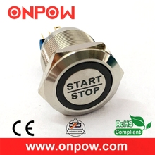 ONPOW 22mm Stainless steel Momentary Waterproof IP65 Engine start stop push button switch  (GQ22-11E/B/12V/S/Laser)  CE, ROHS