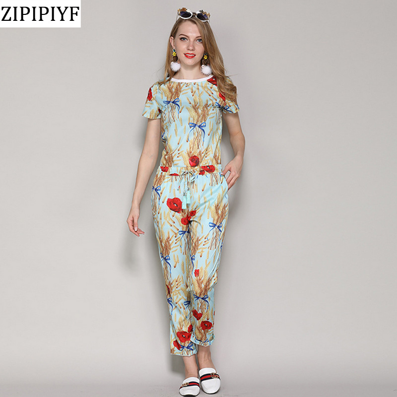 ZIPIPIYF 2018 Spring Sweet yellow straw Floral Printing Short Sleeve T-Shirt + Ankle-Length Pants Two Piece Set Chic Women Sets