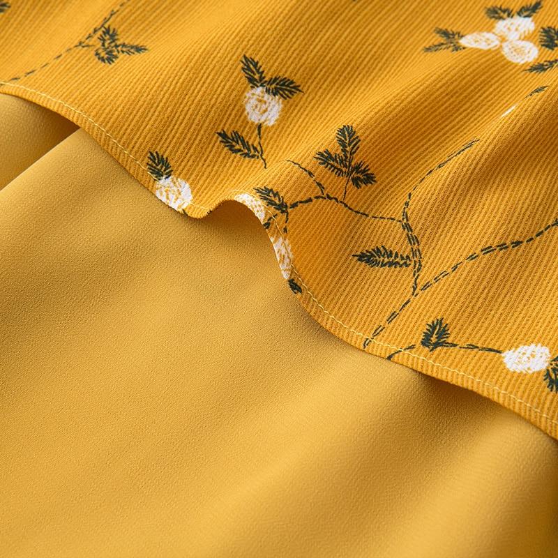 f91f4cf4161c7 2018 European design plus size women floral print yellow chiffon dress  false two pieces women's ruffles casual summer dresses on Aliexpress.com |  Alibaba ...