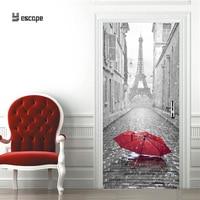 3D Door Sticker DIY Mural Imitation Paris Eiffel Tower Wallpaper Waterproof Self adhesive Door Stickers Home Decor wall sticker