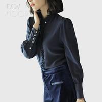 Женские топы из натурального шелка и блузки, элегантная кружевная рубашка с воротником стойкой, бежевая темно синяя шелковая рубашка roupa