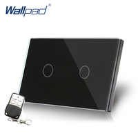 Black 2 Gang Remote Switch Crystal Glass Switch Wallpad Luxury US AU Standard Touch Sensor Smart