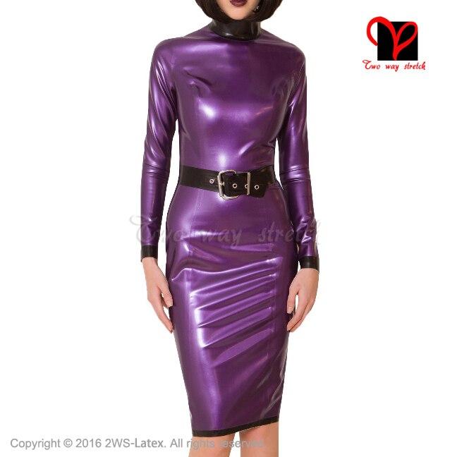 Sexy long sleeves Latex Dress metallic purple belts Rubber outfit Gummi Playsuit Bodycon Pencil Uniform plus size XXXL  QZ-056 plus size women in leather
