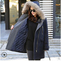 2016 outono e inverno nova casaco grandes estaleiros grosso Nagymaros gola do casaco com capuz e seções longas de lã casaco casacos Mulheres trabalho