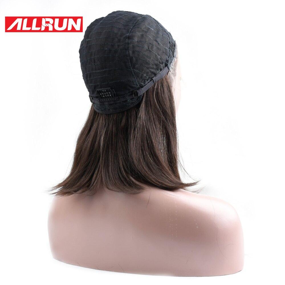 ALLRUN европейские прямые волосы боб парики #2 Цвет средняя часть не Реми Швейцарский Синтетические волосы на кружеве парики 100% Синтетические ...