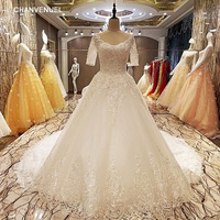 LS69048 robe de mariage 2019 zipper back floor length ball gown lace wedding dresses organza real photos made in china factory