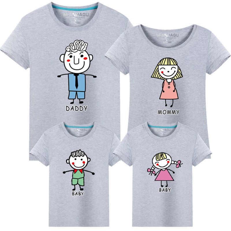 ใหม่แขนสั้นเสื้อยืดสำหรับแม่และลูกสาวผ้าฝ้ายผู้หญิงเสื้อน่ารักครอบครัวจับคู่เสื้อผ้าเสื้อ