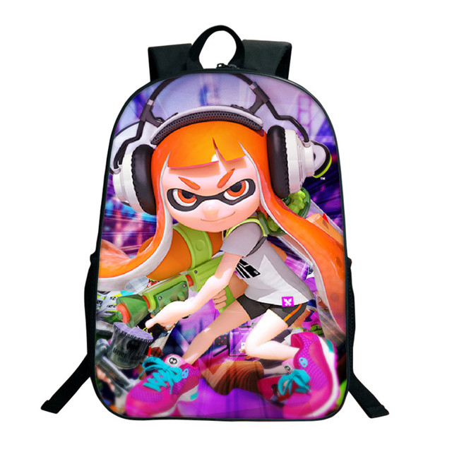 16 Inch Splatoon 2 Backpacks For Teenagers Casual Men Women's Travel Shoulder Bags Splatoon Bags For Children Kids Birthday Gift 2