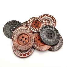 10 шт., 6 см, лазерная резка, круглые деревянные пуговицы, прессованная резьба, большой размер, кнопки для шитья пальто, аксессуары A3