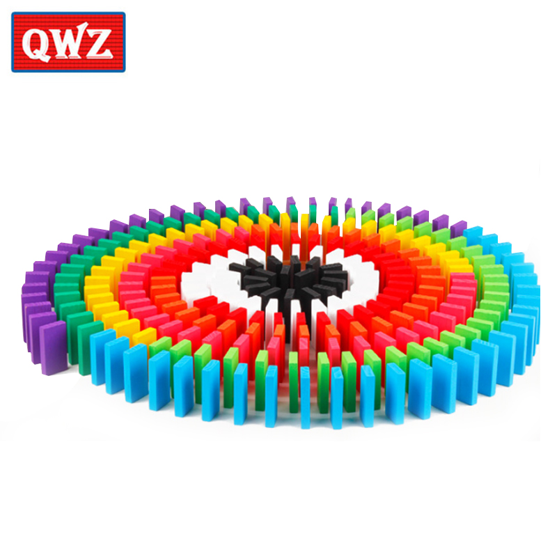 QWZ 100/300/500pcs Children Color Sort Rainbow Wood Domino Blocks Kits Early Bright Dominoes Games Educational Toys For Kid Gift