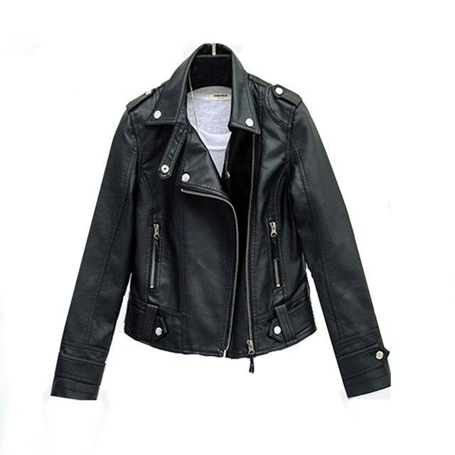 PU motocykl płaszcze kieszeni kobiety krótki płaszcz na zamek błyskawiczny odzieży wierzchniej czarny zima jesień Plus rozmiar skórzana szczupła kurtka ładny nowy