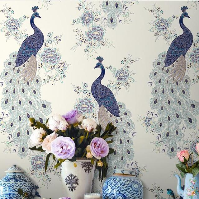 Luxury Chinese Peacock Wallpaper Blue Roll For Walls Home Tropical