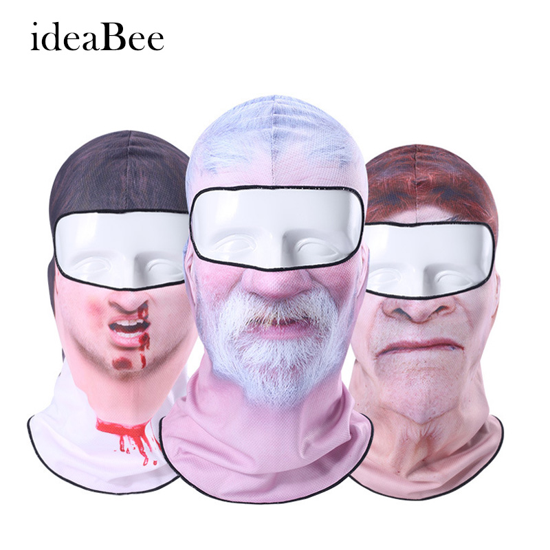 ideacherry Hot Sale 3D Cap Clown Outdoor Sports Bicycle Cycling Motorcycle Masks Ski Hood Hat Veil Balaclava UV Full Face Mask topeak outdoor sports cycling photochromic sun glasses bicycle sunglasses mtb nxt lenses glasses eyewear goggles 3 colors
