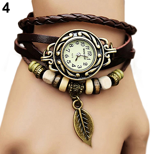 2018 Hot Retro Butterfly Leaf Fashion Leather Bracelet Water Quartz Hand Clock Women Wrist Watch Wristwatch 1HHB 6T33 C2K5W