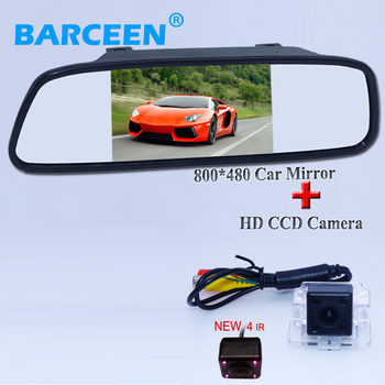 """Wire car  reserve reversing camera 170 degree 4 ir +5"""" universal car use lcd car  parking mirror use for  Mitsubishi Outlander"""