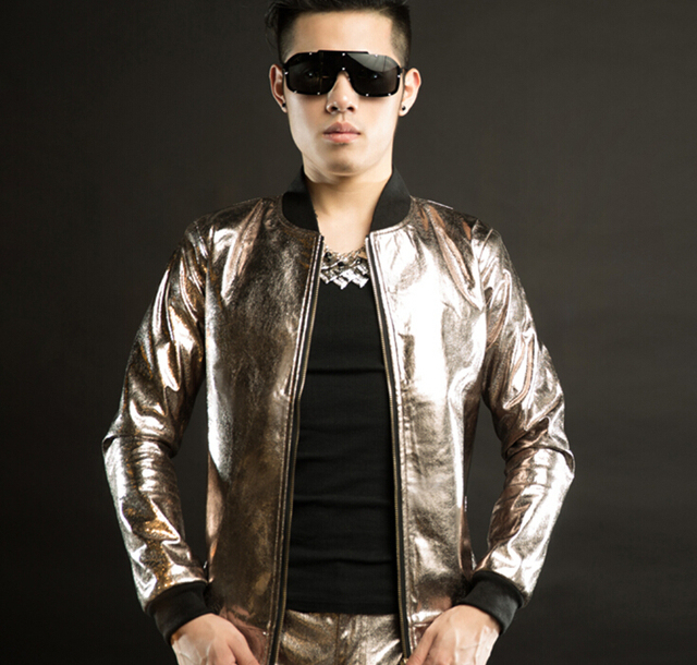 New 2015 male dj singer jazz costumes brown leather casual slim fit men outerwear hip-hop jacket stage wear show clothes