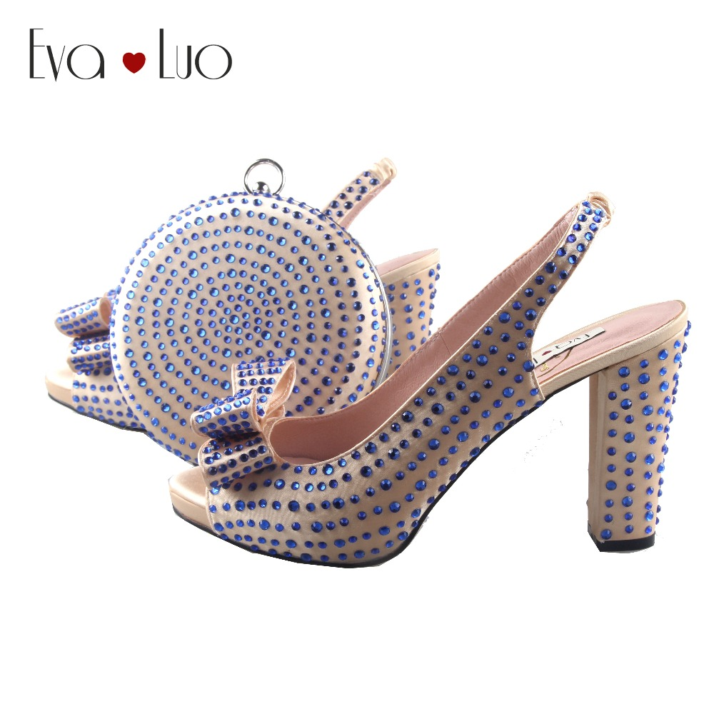 BS927 Custom Made Champagne Royal Blue Crystal Bow African Women Shoes With Matching Bag Slingbacks Women