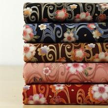 Japan Style DIY Cotton Linen Fabric Beautiful Bronzed Sakura Prints  Decorative Table Cloth/Curtains/Doll Clothing Fabric