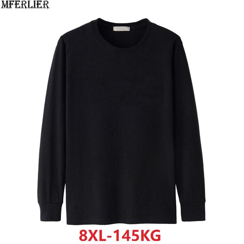 MFERLIER men Tshirt long sleeve winter autumn plus size big 5XL 6XL Casual   t  -  shirts   cotton 7XL 8XL Home tshirt green blue black