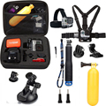 gopro accessories set 10 in 1 kit Aluminum Extendable Pole Stick chest head strap Car Suction Cup Adapter for go pro hero xiaoyi