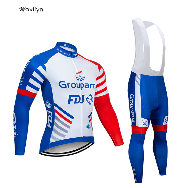Moxilyn 2019 GROUPAMA FDJ Team Cycling Jersey and 9D Bike Long Set Ropa Ciclismo Mens Winter Fleece Warm Cycling Clothing Mens
