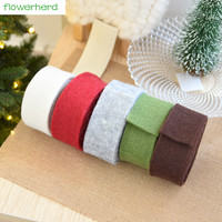 2M 3cm/5cmWool Felt Color Wool Roll DIY Bowknot Christmas Ribbon Christmas Tree Wreath Ornament New Year Decoration