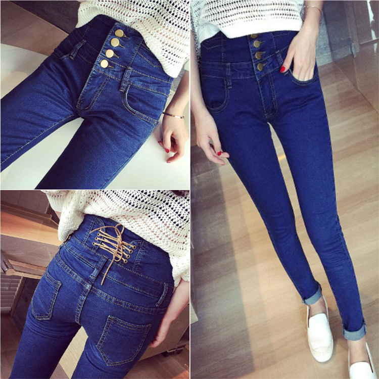 Women High Waist Jeans Stretchy Dark Blue Button Fly Denim Skinny Pants Trousers With Pocket Women's Clothing
