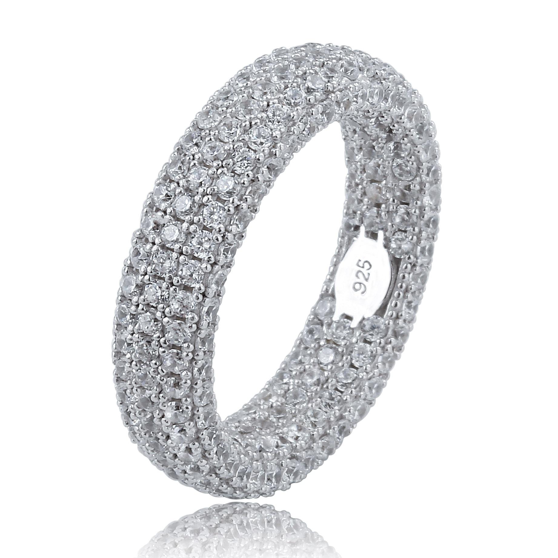 Лучшее качество, 925 пробы Серебряное кольцо с штампом, полностью покрытое льдом кубического циркония, мужские и женские обручальные кольца, очаровательные ювелирные изделия для подарков-in Кольца from Украшения и аксессуары