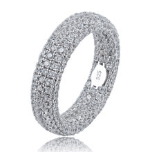Best Quality 925 Sterling Silver Stamp Ring Full Iced Out Cubic Zirconia Mens Women Engagement Rings Charm Jewelry For Gifts(China)
