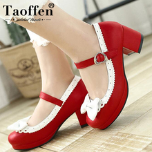 Купить с кэшбэком TAOFFEN Women Thick High Heel Shoes Women Patchwork Bowknot Heart Buckle Heels Pumps Ladies Office Daily Footwear Size 28-43