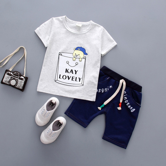 146ad2d664a8 Cartoon Baby Boy Clothing Set Summer 2018 New Style Infant Clothes Baby  Girls Clothing Cotton Short Sleeve Baby Boy Clothes