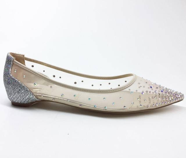 Women Wedding Shoes Fashion Crystal Lady Pointed Toe Low Heels Flats Bride  shoes Bridal Women Party Mesh Rhinestone Slip on Flat b88a0fcb4c1e