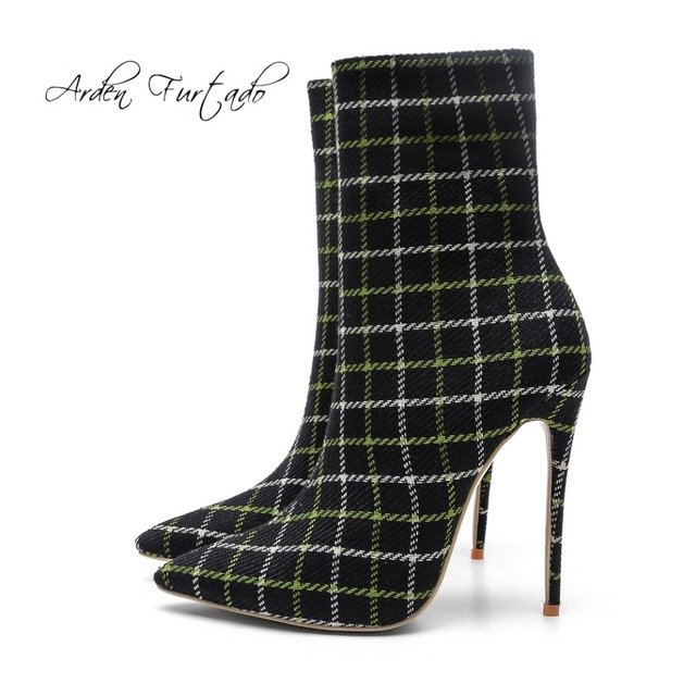 3b4db3d5b2564 Arden Furtado 2018 spring autumn checkered shoes stilettos ankle boots high  heels fashion pointed toe woman sexy party shoes new