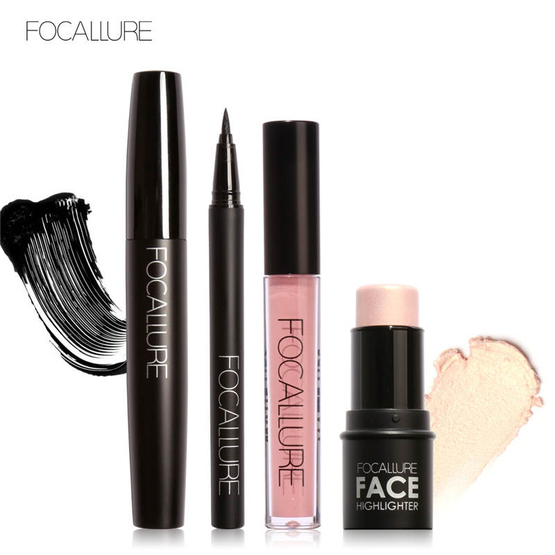 FOCALLURE Pro 4Pcs Daily Use Makeup Big Volum Mascara Eyeliner Highlighter Bronzer Sticker with Liquid Lipstick free shipping 3 pp eyeliner liquid empty pipe pointed thin liquid eyeliner colour makeup tools lfrosted purple