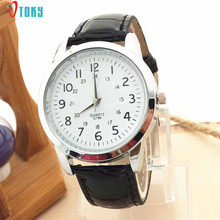 Hot Selling Elegant Luxury Clocks PU Leather Strap Quartz Wrist Watch Fashion Men Watches Lovers Creative May05